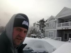 While shoveling on Saturday.