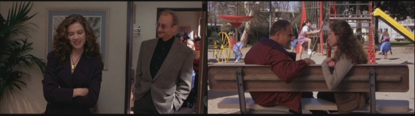 Heather talks to Robert Englund (note the Fred-heads in the background) after a Freddy talk show appearance. John Saxon and Langenkamp share a moment in the park as Saxon plays the father figure.