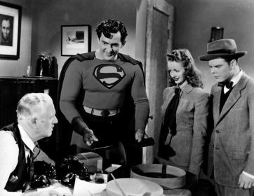 Superman helps fix a broken record for Perry White, Lois Lane, and Jimmy Olson.