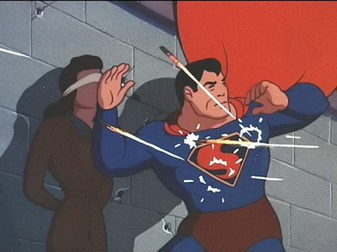 "From the Famous Studios episode ""The Eleventh Hour."" Japanese soldiers put Lois Lane in front of a firing squad because she and Clark Kent happened to be in Japan as Superman destroyed Japanese battleships. Note the poorly done Superman, without a belt."
