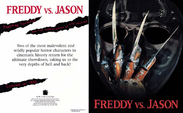 A flyer that was released to theater owners in 1997 promising a Freddy vs. Jason movie in 1998.