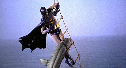 """""""Whew! A little higher and he may have bitten my-- Robin! Send down the Bat-Shark Repellent!"""""""