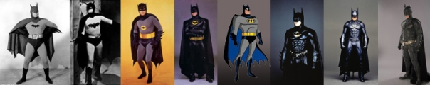 Batmen: Lewis Wilson, Robert Lowery, Adam West, Michael Keaton, Kevin Conroy, Val Kilmer, George Clooney, and Christian Bale.