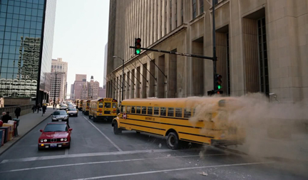 That or it's quite normal for school buses to come out of banks in Gotham.